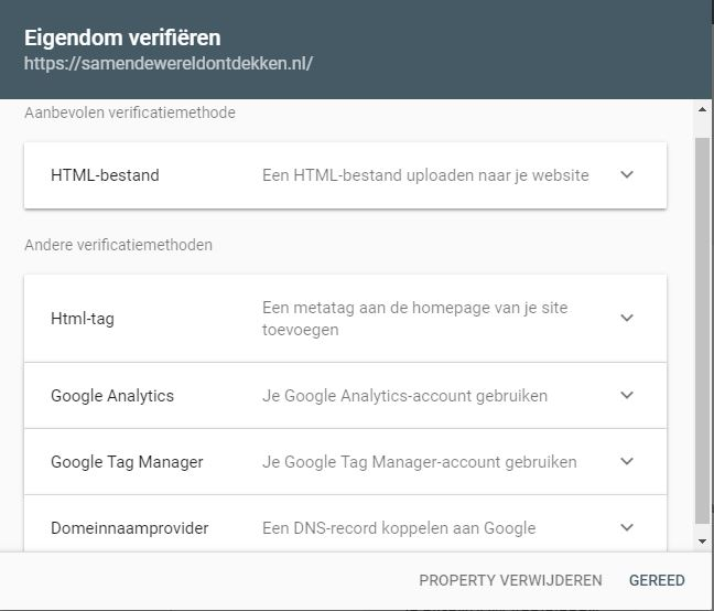 Eigendom verifieren in Search Console