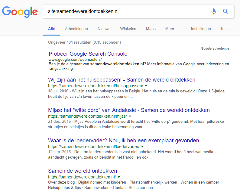 Je kunt in Google eenvoudig controleren of je website is geindexeerd.