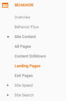 Landing pages in Google Analytics opzoeken